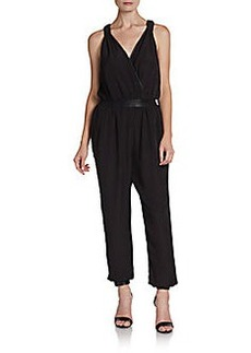 Saks Fifth Avenue RED Faux-Leather Accented Jumpsuit