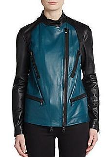 Robert Rodriguez Colorblock-Front Leather Moto Jacket
