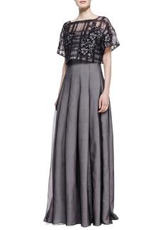 Tadashi Shoji Strapless Gown with Pop Top, Black/Pale Pink
