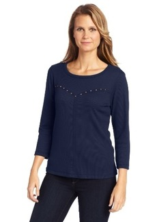 Democracy Women's Three-quarter Sleeve Top with Stud Detail