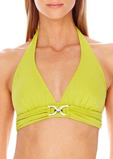 MICHAEL Michael Kors D-Ring Halter Swim Top
