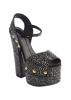 Giuseppe Zanotti black leather beaded embellishment platform pumps
