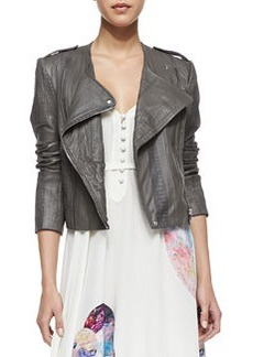 12th Street by Cynthia Vincent Collarless Moto Long-Sleeve Jacket