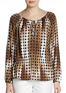 Ellen Tracy Printed Peasant Blouse