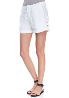 Tab-Side Cuffed Linen Shorts   Tab-Side Cuffed Linen Shorts