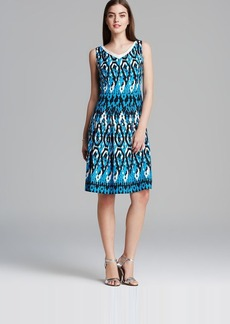 Anne Klein Dress - Sleeveless Vintage Ikat V Neck Swing