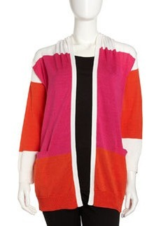 Joan Vass Colorblock Open Cardigan, Pink/Orange