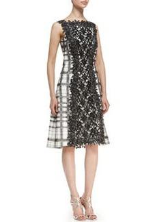 Tadashi Shoji Lace Panel Front & Back Cocktail Dress, Black/White