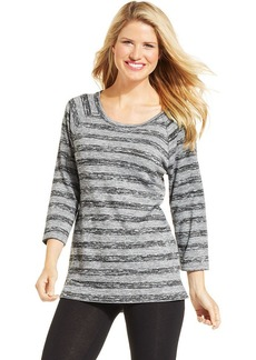 Style&co. Sport Petite Three-Quarter-Sleeve Striped Pullover