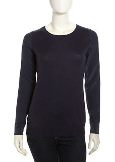Joie Silk-Sleeve Knit Sweater, Dark Navy