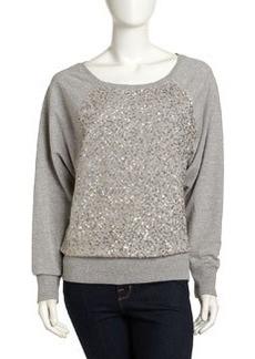 French Connection Metallic-Sequined Long-Sleeve Sweatshirt