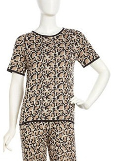 Joan Vass Leopard-Print Short-Sleeve Sweater