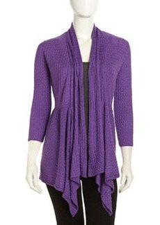 Lafayette 148 New York Open-Front Synched Waffle-Knit Cardigan, Delphinium