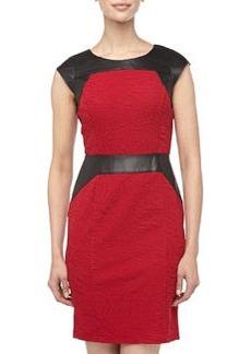Marc New York by Andrew Marc Faux-Leather-Trim Jacquard Dress, Raspberry