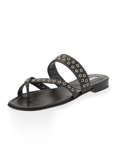 Manolo Blahnik Susaocc Leather Grommet Flat Thong Sandal, Black