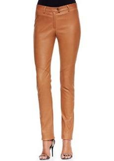 Escada Slim Leather Pants, Cognac