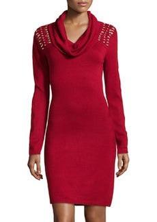 Marc New York by Andrew Marc Crystal-Beaded Yoke Sweaterdress, Poinsettia