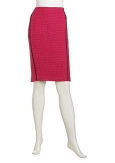 Lafayette 148 New York Lillith Tweed Pencil Skirt, Cerise/Black