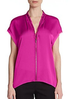 Elie Tahari Dallas Zip-Front Stretch Silk Blouse