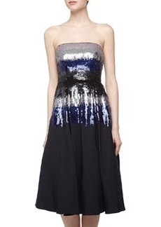 Nicole Miller Ombre Sequin Strapless Cocktail Dress, Navy