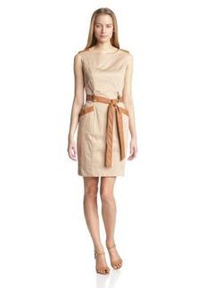 Ellen Tracy Women's Cap Sleeve Dress with Leather Details