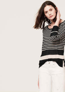 Stripe Textured Scoop Neck Sweater