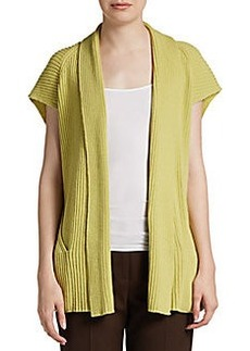Lafayette 148 New York Ribbed Shawl-Collar Cardigan