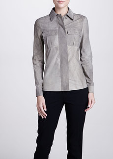 Michael Kors Snap-Front Long-Sleeve Shirt