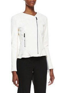 Elie Tahari Erin Silk Peplum Moto Jacket, Ivory