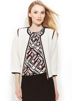 Calvin Klein Petite Zip-Front Contrast-Trim Jacket