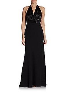 Carmen Marc Valvo Sequin Halter Gown