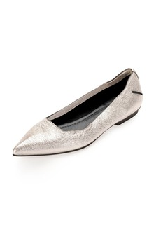 CoSTUME NATIONAL Metallic Point-Toe Ballerina Flat, Silver