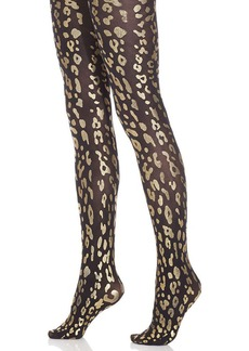 Hue Metallic Foil Leopard Tights