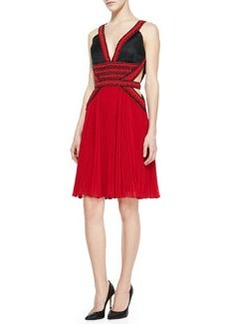 JASON WU Beaded Halter Pleated Skirt Dress