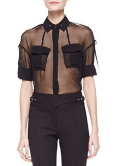 Jason Wu Sheer Silk Utility Shirt, Black