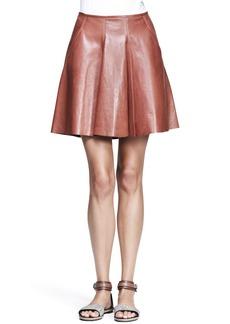 Brunello Cucinelli Shiny Leather Swing Skirt