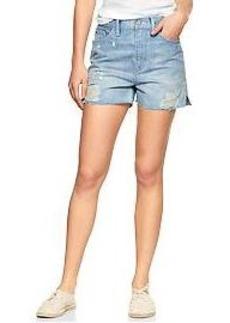 1969 destructed raw-edge high-rise denim shorts