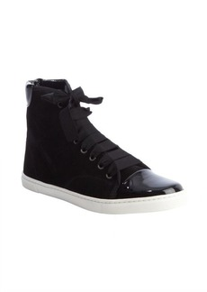 Lanvin black suede 'Basket Haute' high-top sneaker