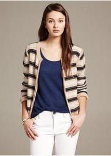 Multi-Stripe Zip Cardigan