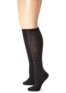 Jones New York Women's Floral Texture 2 Pack Knee High Socks