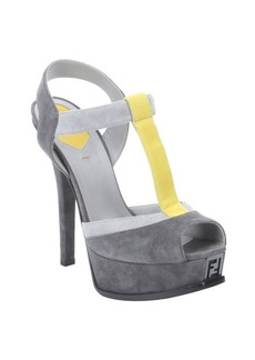 Fendi asphalt suede colorblock t-strap platform sandals