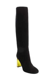 Fendi black and lime suede side zipper tall boots