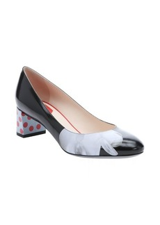 Fendi black and powder blue leather orchid detail pumps