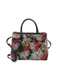 Fendi black and red orchid print leather mini '2Jours' convertible tote bag