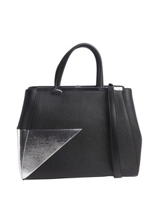 Fendi black and silver leather '2Jours' medium shopper tote