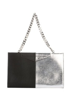 Fendi black and silver leather color block clutch bag