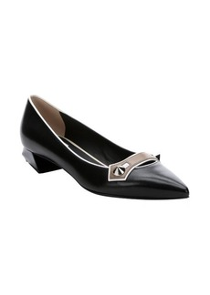Fendi black and taupe leather geometric heel pointed toe pumps