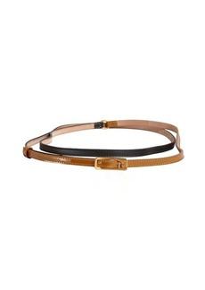 Fendi black and tobacco leather wrap belt