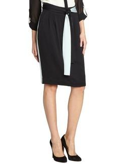 Fendi black and turquoise knee-length silk skirt