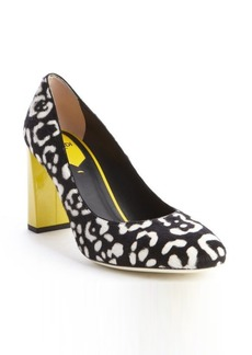 Fendi black and white and yellow calf hair patent leather heel pumps